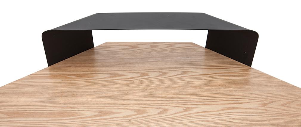 Design-Eckschreibtisch Metall schwarz und Eschenholz QUARTER
