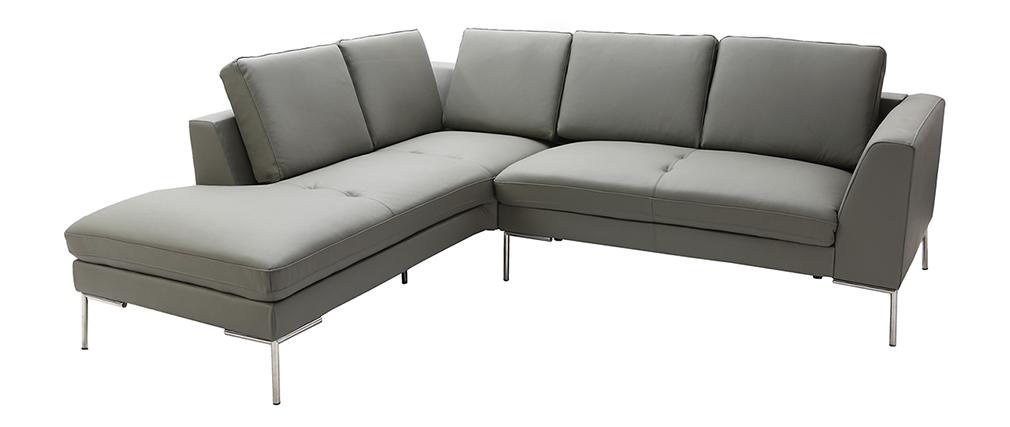 Design ecksofa  Design-Ecksofa 5 Plätze Leder Grau (linker Winkel) OXFORD - Miliboo