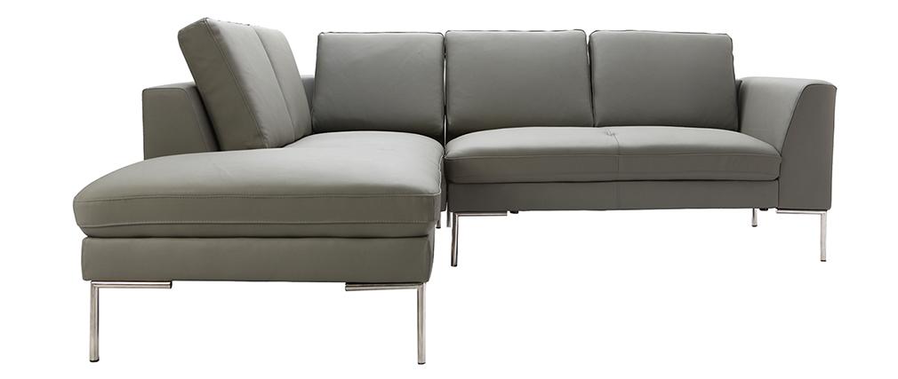 Ecksofa grau leder  Design-Ecksofa 5 Plätze Leder Grau (linker Winkel) OXFORD - Miliboo