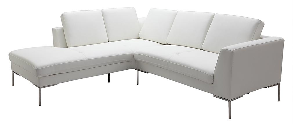 Ecksofa design  Design-Ecksofa 5 Plätze Leder Weiß (linker Winkel) OXFORD - Miliboo