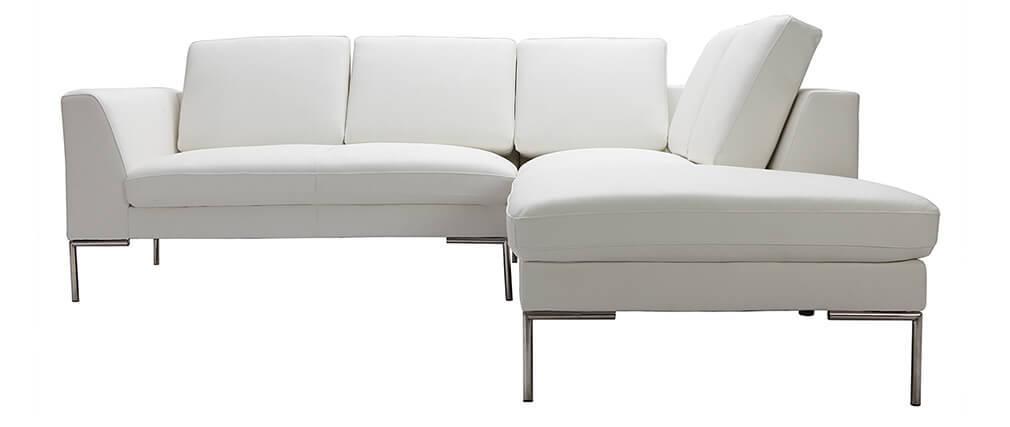 Design ecksofa  Design-Ecksofa 5 Plätze Leder Weiß (rechter Winkel) OXFORD - Miliboo