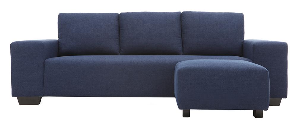 Design-Ecksofa Stoff 3-Sitzer Dunkelblau DEAUVILLE
