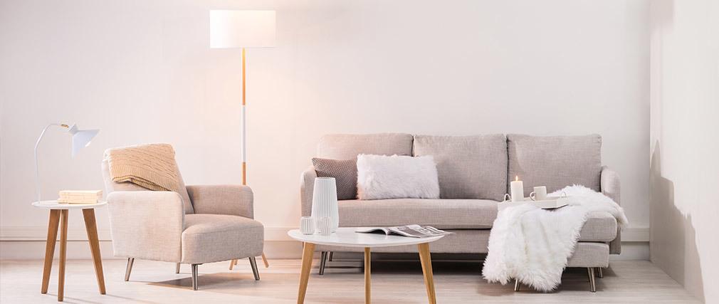 Design-Ecksofa verstellbar 3 Plätze bläuliches Grau BART