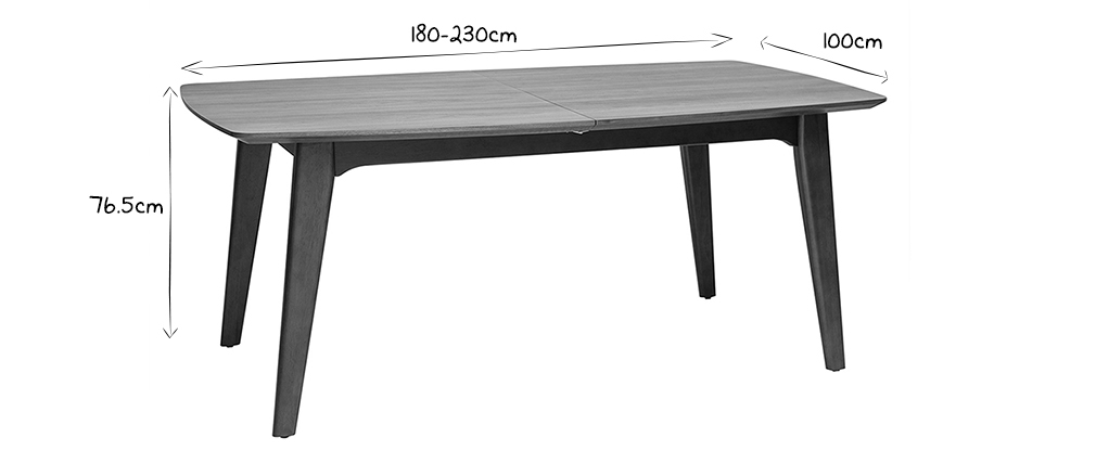 Design-Esstisch ausziehbar Nussbaum L180-230 FIFTIES