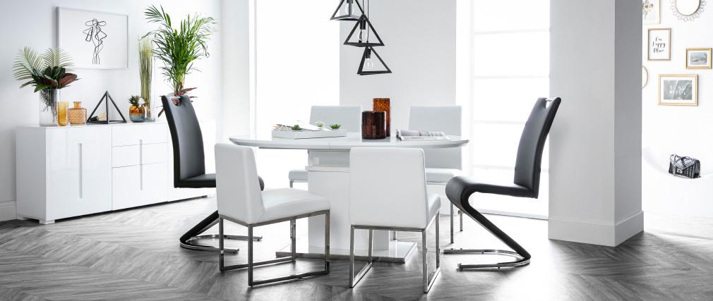 Design-Esstisch ausziehbar Weiß L160-200 CLEONES