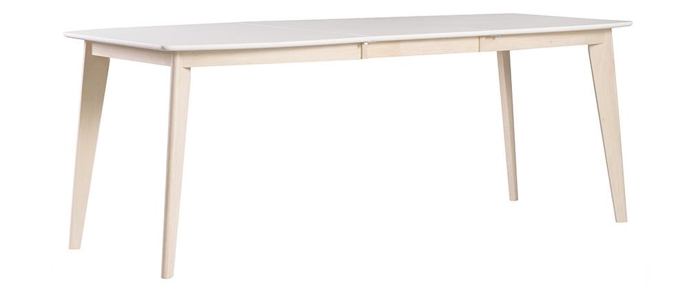 Design-Esstisch ausziehbar Weiß und helles Holz L150-200 LEENA