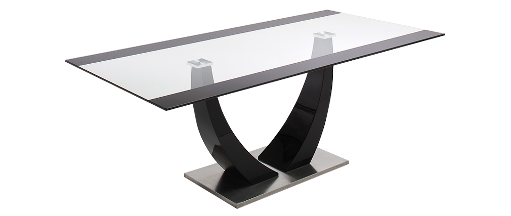 Design-Esstisch Glas und schwarz lackiert 200cm PEARL