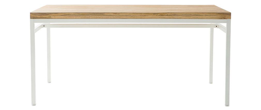 Design-Esstisch Mangoholz und Metall Weiß 160 cm BOHO
