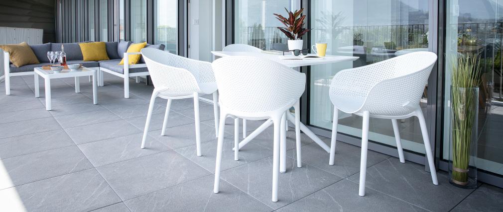 Design-Esstisch quadratisch Schwarz Indoor / Outdoor OSKOL