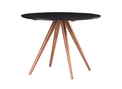Design-Esstisch rund 106 cm Nussbaum und Schwarz WALFORD