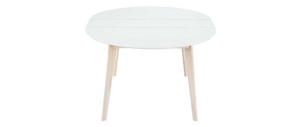 Design-Esstisch rund ausziehbar Weiß und Holz L120-150 LEENA