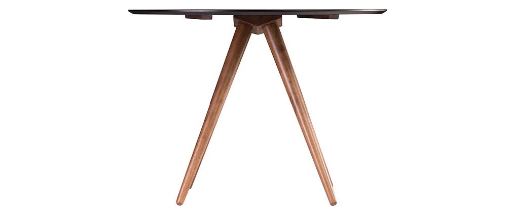 Design-Esstisch rund Nussbaum und Schwarz D106 WALFORD