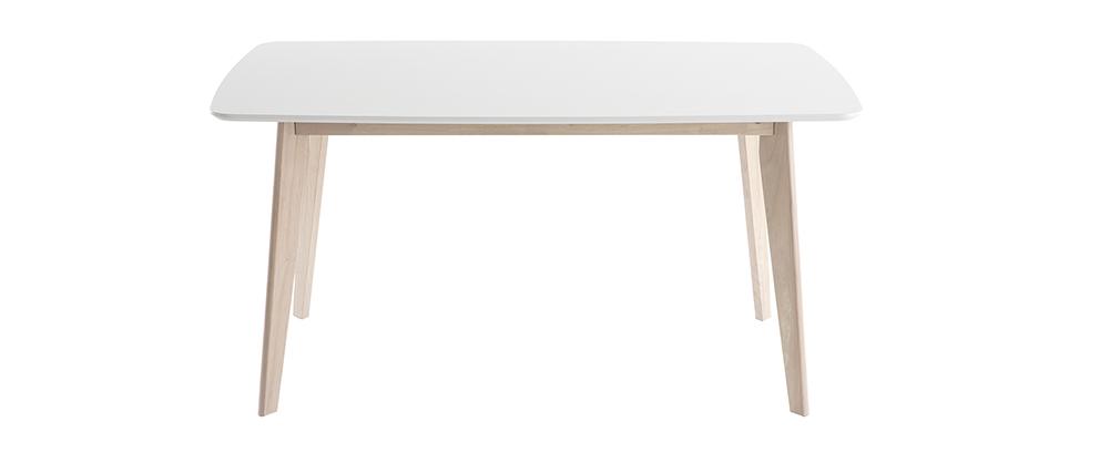 Design-Esstisch Weiß und helles Holz L150 LEENA