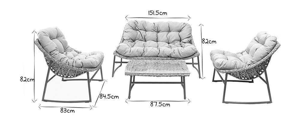 Design-Gartenmöbelgarnitur Grau COMFY