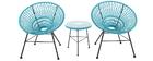 Design-Gartensessel ARANGO aus türkisfarbenem Kunststoffgeflecht