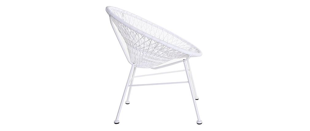Design-Gartensessel ARANGO aus weißem Kunststoffgeflecht