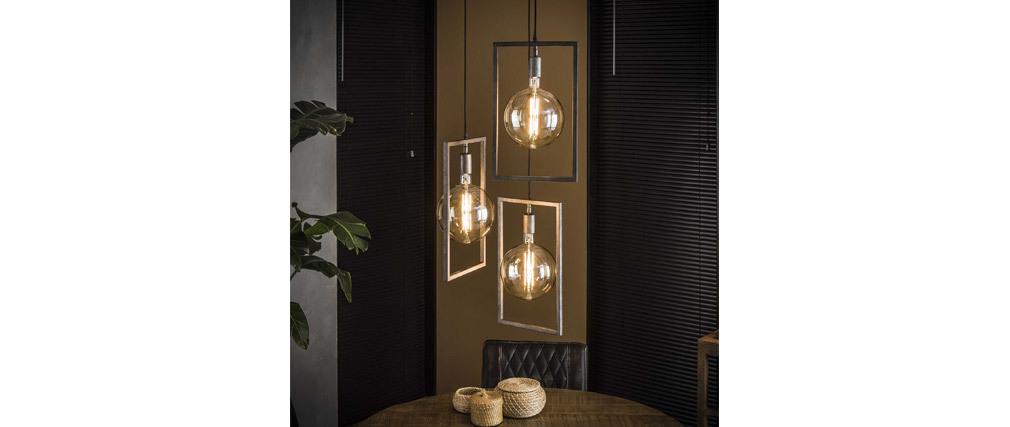 Design-Hängelampe 3 Leuchten mit Altsilber-Finish DIYA