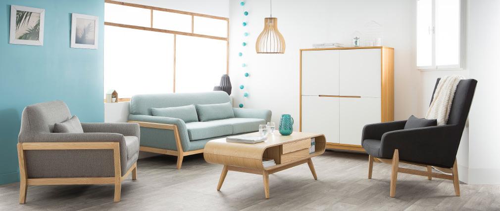 Design-Hängeleuchte FIJI aus hellem Holz, Ø 28 cm