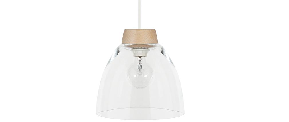 Design-Hängeleuchte Holz und Glas BORA