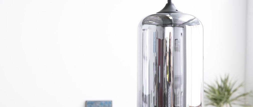Design-Hängeleuchte MILAN aus transparent schwarzem mundgeblasenem Glas