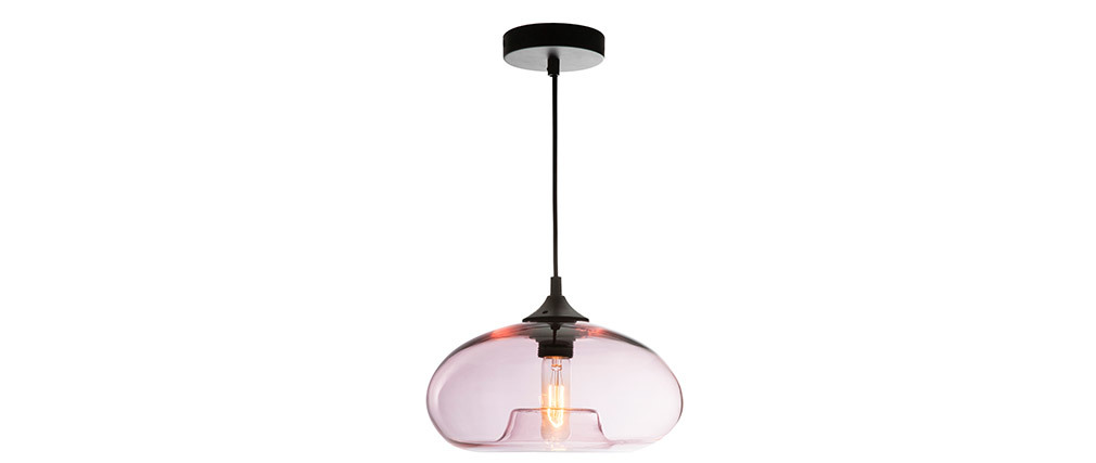 Design-Hängeleuchte MISTIC aus transparent rosafarbenem, mundgeblasenem Glas