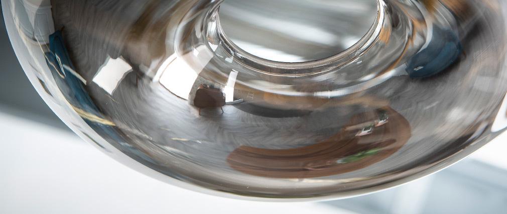 Design-Hängeleuchte MISTIC aus transparent schwarzem, mundgeblasenem Glas
