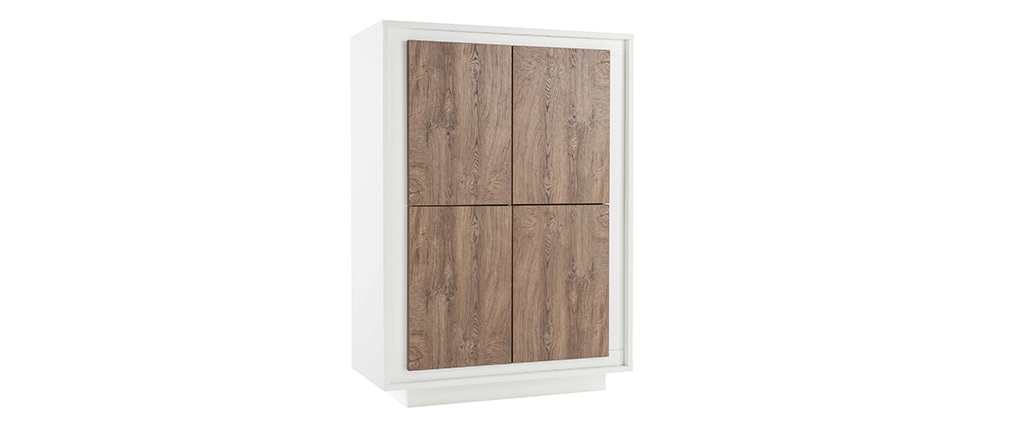 Design-Highboard 4 Türen weiß und dunkles Holz-Dekor LAND