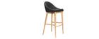 Design-Hochstuhl 75 cm Holz Stoff Anthrazitgrau SHANA