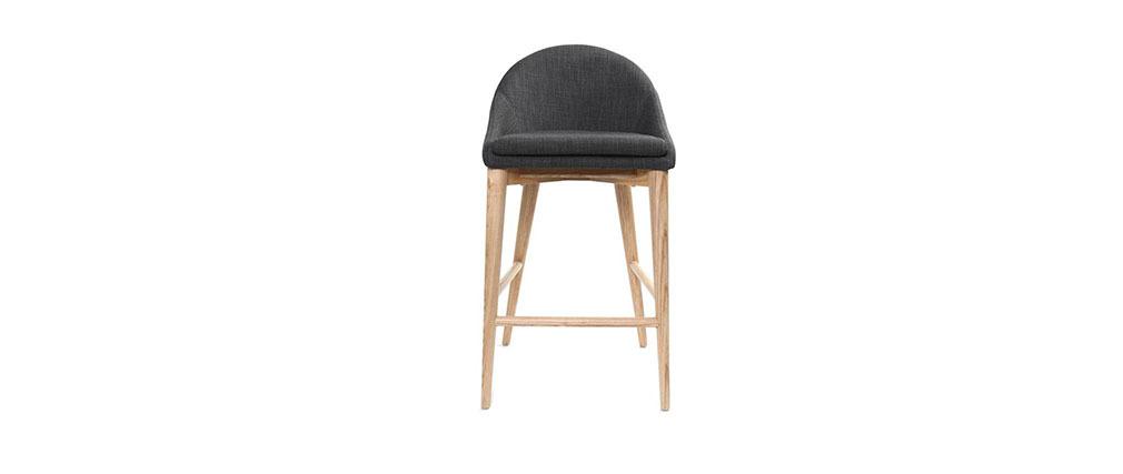 Design-Hochstuhl Holz Polyester Grau Anthrazitfarben SHANA