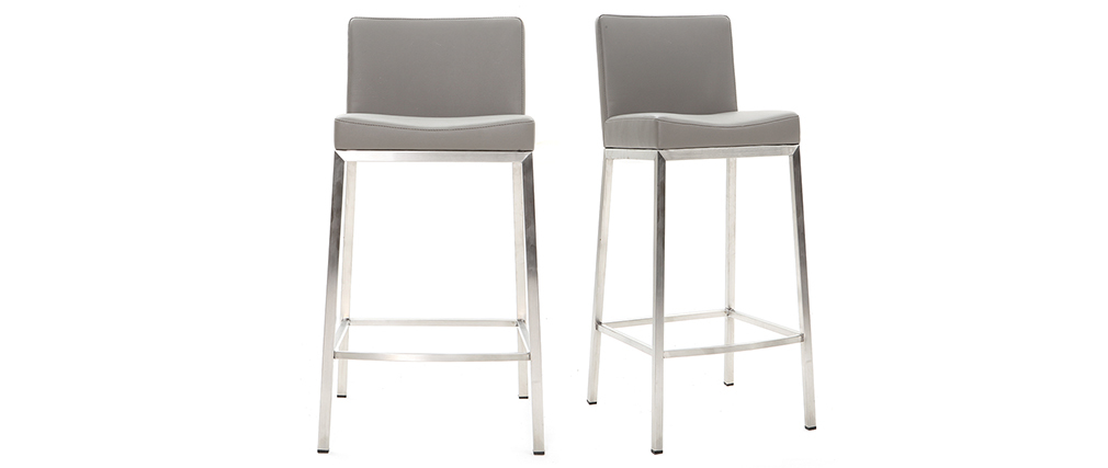 Design-Hocker 66 cm Grau 2er-Set EPSILON