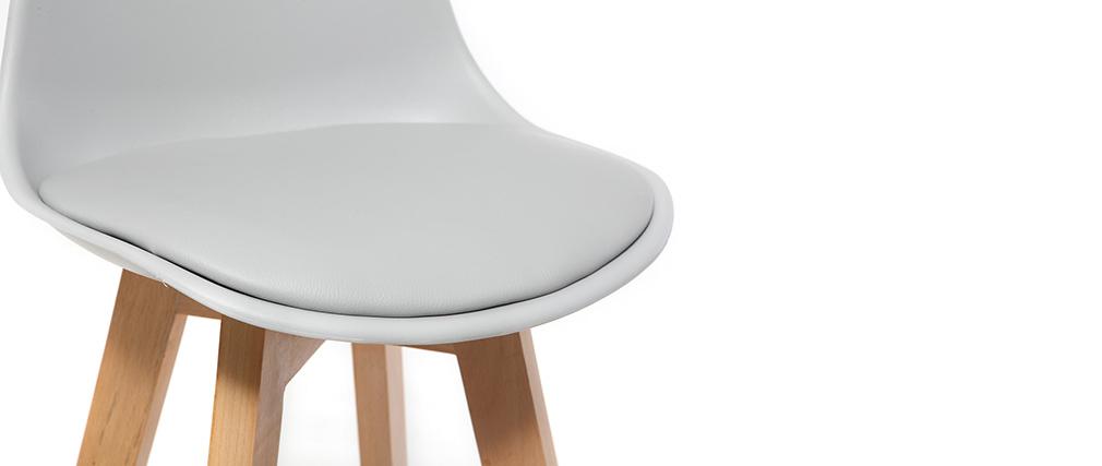 Design-Hocker Hellgrau und Holz 65 cm 2er-Set MINI PAULINE