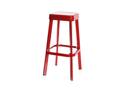 Design-Hocker Industrie-Metall Rot IRON