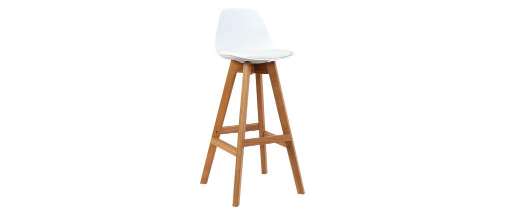 Design-Hocker Weiß und Holz 65 cm 2er-Set MINI PAULINE