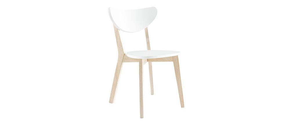 Design-Holzstuhl mit Weiß LEENA (2 Stck.)