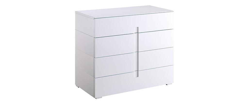 Design-Kommode Weiß lackiert 4 Schubladen TED