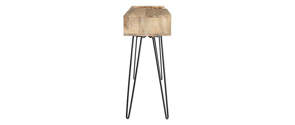 Design-Konsole aus Mangoholz mit Beinen aus schwarzem Metalldraht VIBES