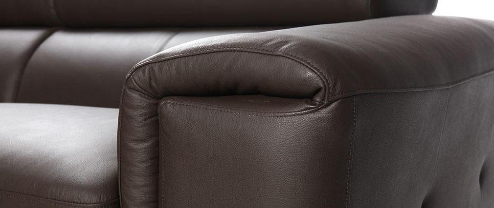 Design-Ledersofa drei Plätze mit Kopfstück zur Entspannung Schokofarben NEVADA - Büffelleder