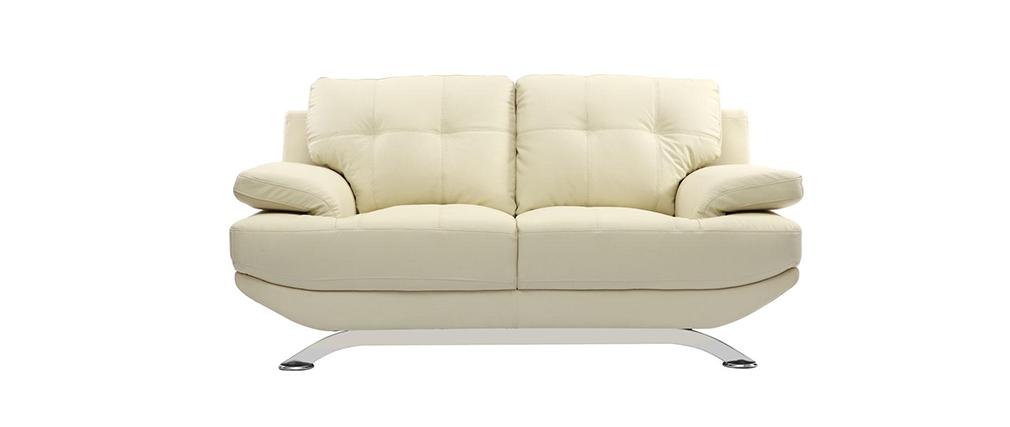 Design-Ledersofa mit 2 Sitzplätzen BUFFALO Creme - Rindsleder