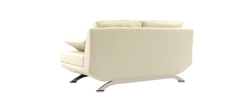 Ledersofa creme  Design-Ledersofa mit 2 Sitzplätzen BUFFALO Creme - Rindsleder ...