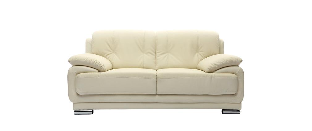 Design-Ledersofa mit 2 Sitzplätzen TAMARA Creme - Rindsleder