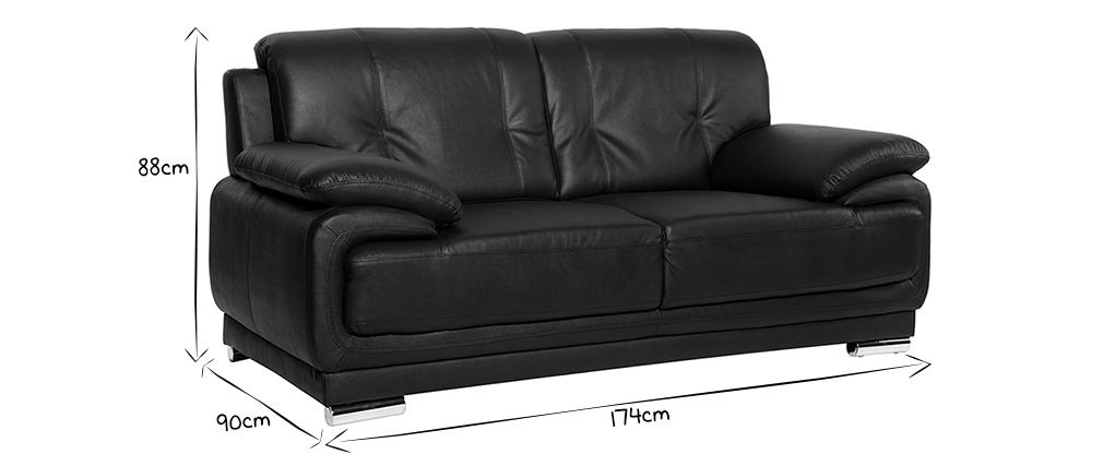 Design-Ledersofa mit 2 Sitzplätzen TAMARA Schwarz - Rindsleder