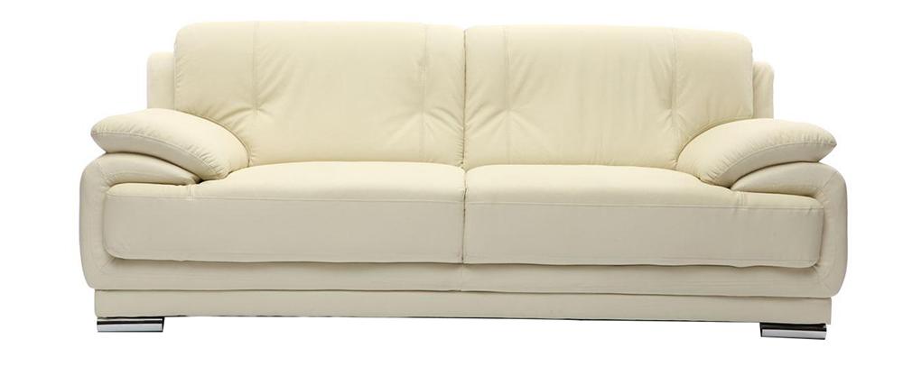 Ledersofa creme  Design-Ledersofa mit 3 Sitzplätzen TAMARA Creme - Rindsleder - Miliboo