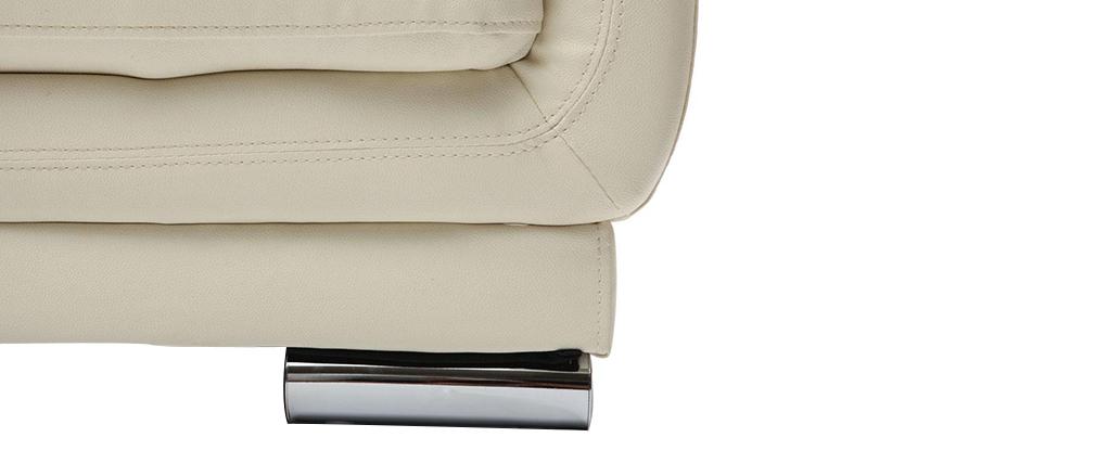 Design-Ledersofa mit 3 Sitzplätzen TAMARA Creme - Rindsleder
