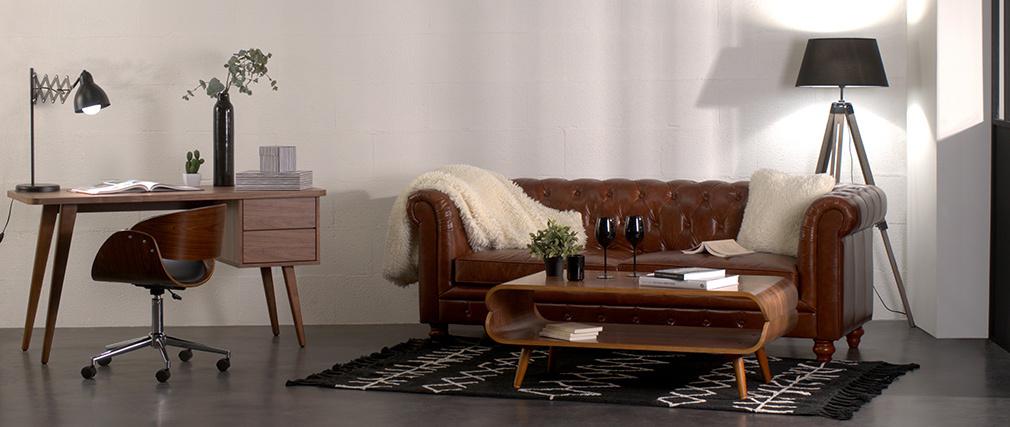 Design-Ledersofa Schwarz 3 Sitzplätze CHESTERFIELD
