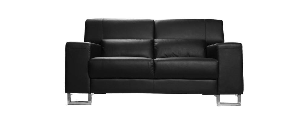 Design-Ledersofa zwei Plätze mit Kopfteil zur Entspannung Schwarz ARIZONA - Kalbsleder