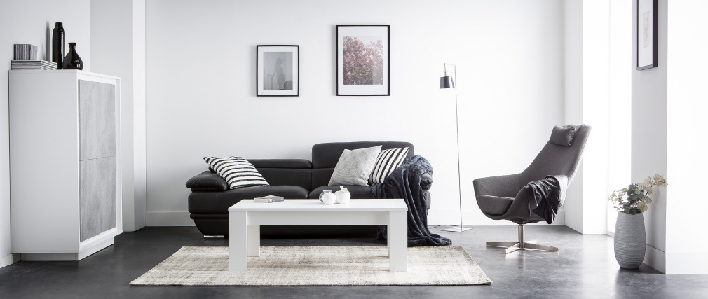 Design-Ledersofa zwei Plätze verstellbares Kopfstück Schwarz EWING - Büffelleder
