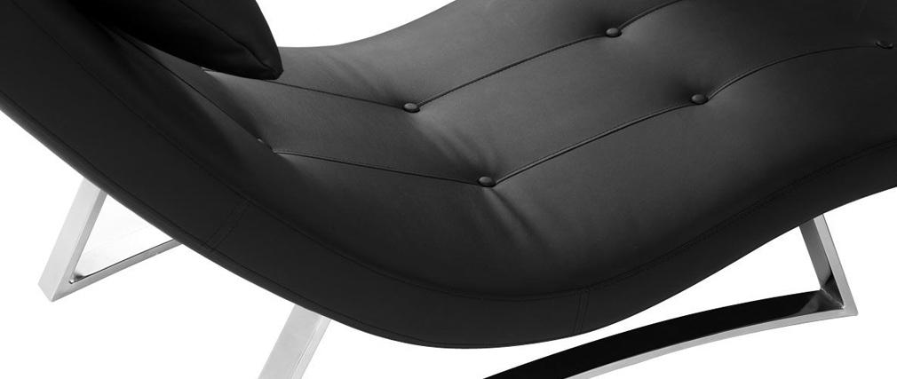 Design liegestuhl schwarz monaco miliboo for Design liegestuhl