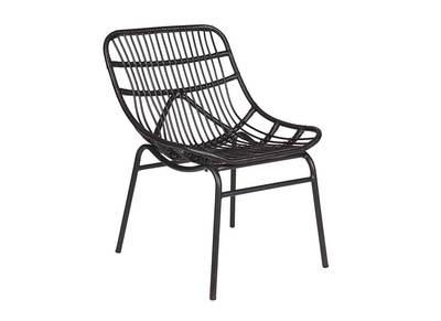 Design-Liegestuhl synthetisches Flechtrohr Schwarz KITTEN