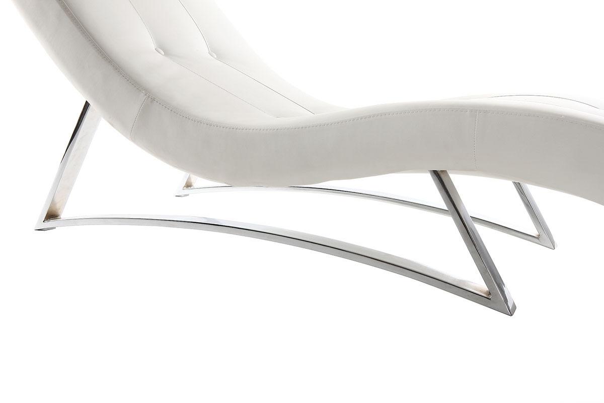 Design liegestuhl wei monaco miliboo for Design liegestuhl