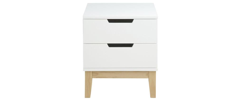 Design-Nachttisch 2 Schubladen Holz und Weiß SNOOP